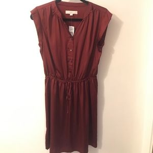 Loft Burgundy Silky Dress